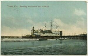 Postcard Venice California Auditorium And Cabrillo Ship Ocean Dock View 1900's