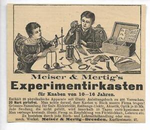 Dresde-Werbung-1895-Meiser-amp-Mertig-039-s-Experimentierkasten-Hist-Annonce-Reklame