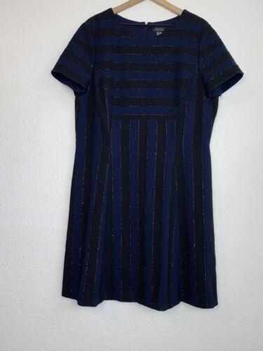 Tahari ASL Metallic Striped Dress Stretch Size 16