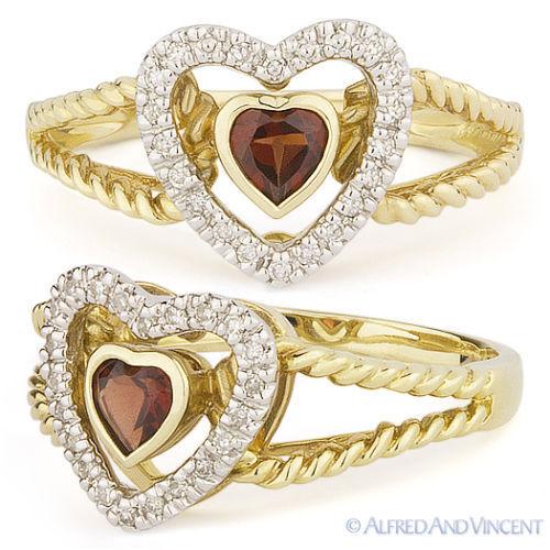 0.43 ct Heart Shape Garnet Gemstone & Diamond Right-Hand Ring Two-Tone 14k gold