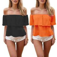 Summer Ladies Womens Chiffon Lace Short Sleeve Shirt Casual Blouse Tops S-XL L22