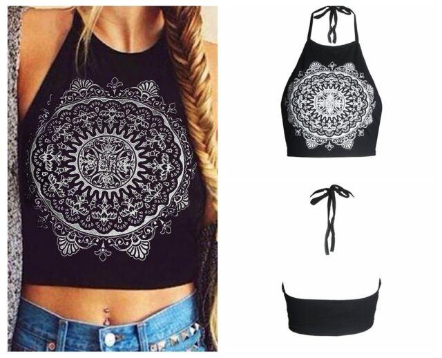 Women Sexy Cami Boho Tank Bustier Bra Vest Crop Tops Bralette Blouse Halter Tops