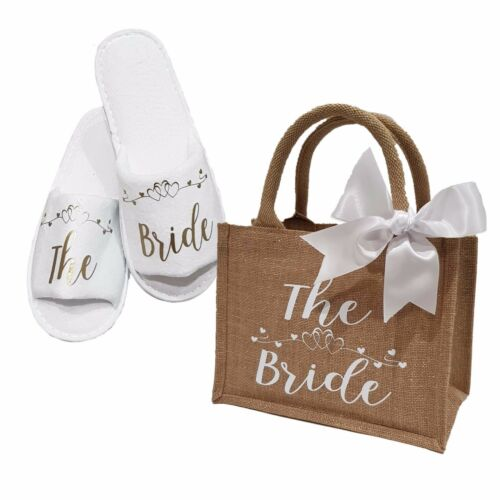 Bride Bridesmaid Hen Wedding Bridal Slippers /& Glimmer Jute Bag Gift  *ANY ROLE*