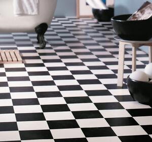 pvc bodenbelag schwarz wei schachbrett 4 meter breite pro qm 9 95 ebay. Black Bedroom Furniture Sets. Home Design Ideas