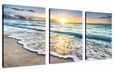 QICAI 3 Panel Canvas Wall Art for Home Decor Blue Sea Sunset White Beach The On