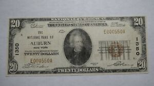 20-1929-Auburn-New-York-NY-National-Currency-Bank-Note-Bill-Ch-1350-RARE