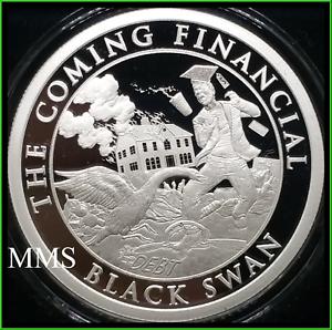 2019 1oz Black Swan Proof Silver Shield Death of the Dollar #23