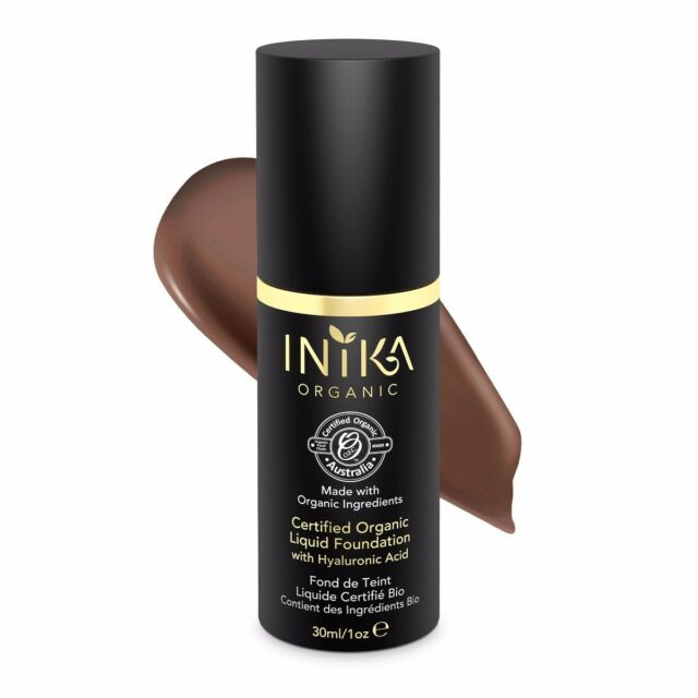 New Inika Certified Organic Liquid Foundation Cocoa with Hyaluronic Acid