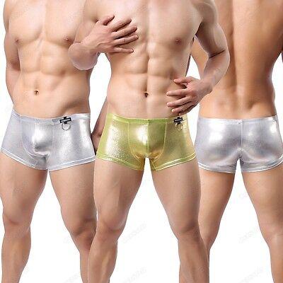 Men's Gold/Silver Shiny Hoop Nightwear Brand Boxer Brief Underwear M L XL NK16