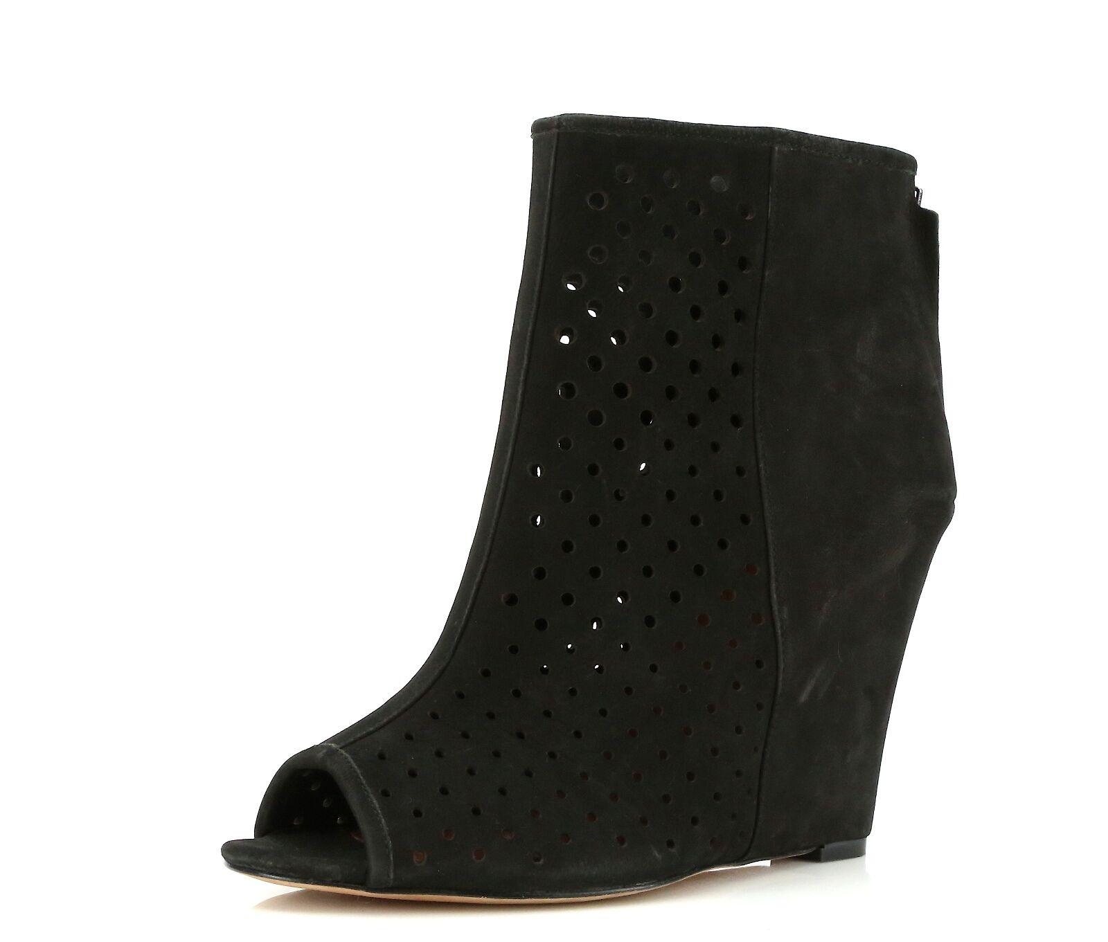 a prezzi accessibili Rebecca Minkoff nero Leather Wedge Peep Toe Heels Heels Heels 2030 Dimensione 9 M  spedizione gratuita!