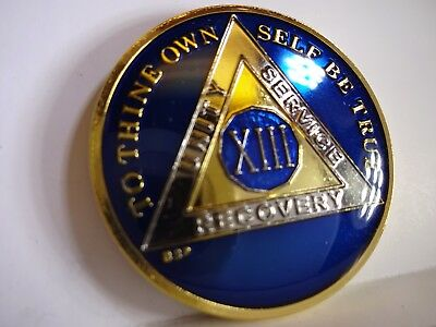 AA BSP Blue Gold 2 Year Coin Tri-Plate Alcoholics Anonymous Medallion TopQuality