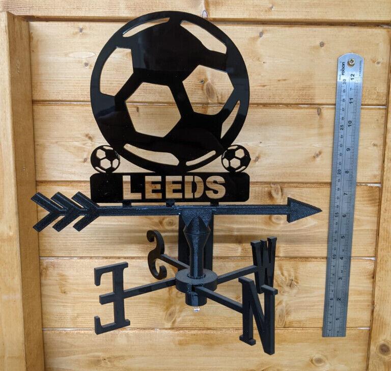 Leeds Football Acrylic Garden Weather Vane Wall, Pole or Post Mounted