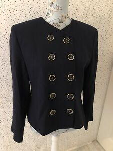 Jaeger-Navy-100-Wool-Double-Breasted-Lined-Jacket-Blazer-Size-12