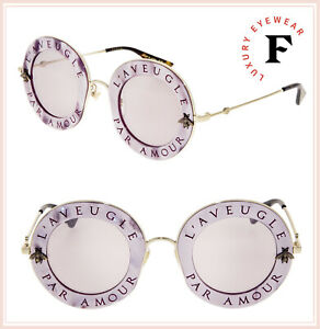 fcd9ef7133 GUCCI LAVEUGLE PAR AMOUR 0113 Round Pink Pearl Lilac Mirrored ...
