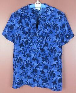 TB06395-NEW-PENDLETON-Women-039-s-Silk-Short-Sleeve-Blouse-Multicolor-Floral-16