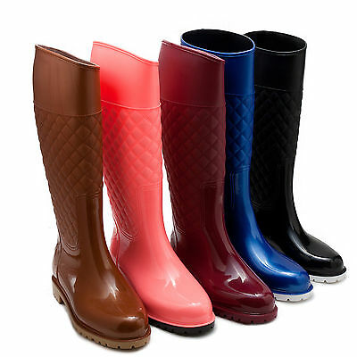 New women quilted mid calf rubber boots rain boots waterproof black pink 5-10