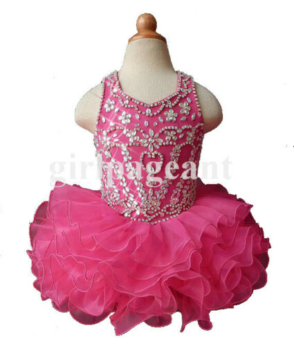 hotpink Infant//toddler//baby//children beading Pageant Dress 047 with hairbow