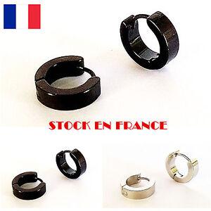 boucle d 39 oreille homme femme piercing acier anneau noir argent punk bijoux ebay. Black Bedroom Furniture Sets. Home Design Ideas
