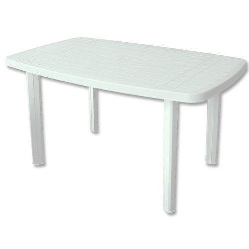 Gartentisch FARO Kunststofftisch Tisch PROGARDEN weiß 140 x 90 cm oval