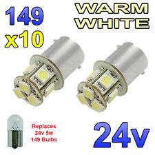 10 x LED bianco caldo 24v ba15s 149 r5w 8 SMD LAMPADINE Targa Laterali Interni CAMION MEZZI PESANTI