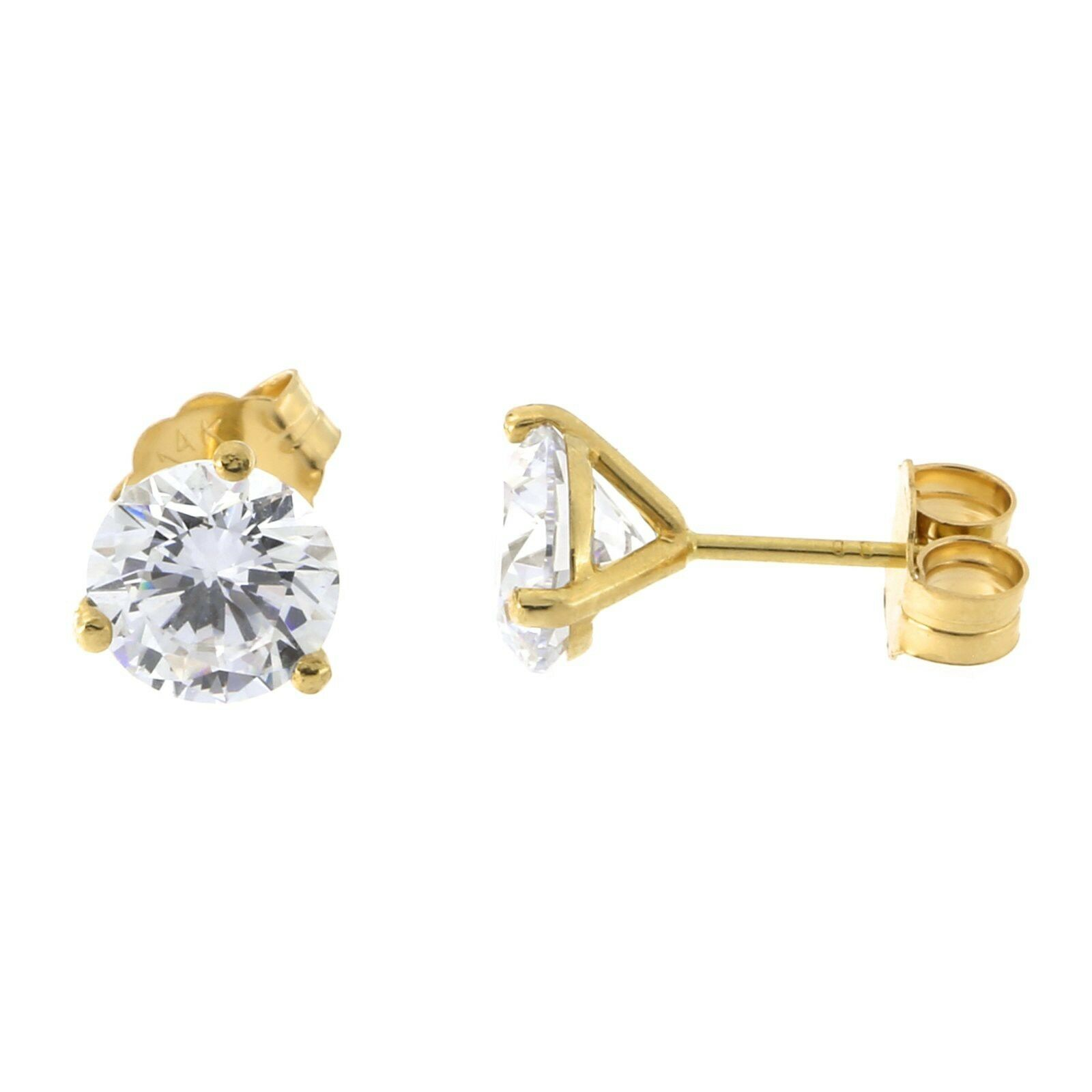 14k Yellow White gold Three Prong Martini Set Round AAA CZ Stud Earrings