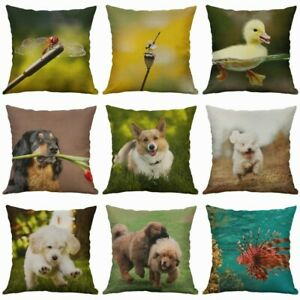 Decor-Animal-Home-Dog-Pillows-Case-Printing-Fish-Cotton-Linen-Cushion-Cover