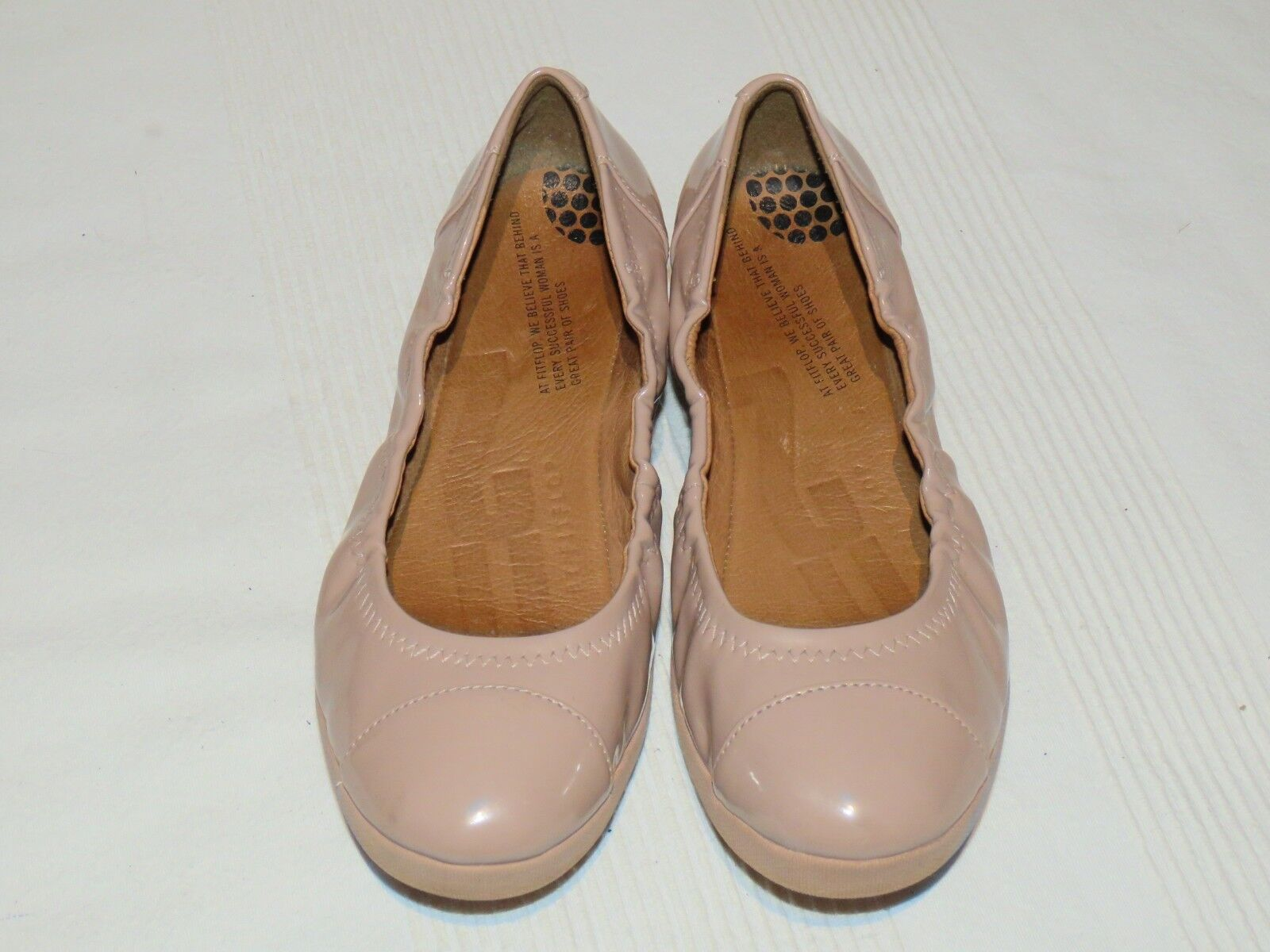 FF2TM BY FitFlop™ F-POP NUDE PATENT LEATHER BALLERINA PUMPS UK 4 4 UK EUR 37 917934