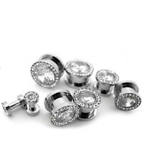 Pair Of Clear Cz Gem Screw On Plugs / Gauges Sizes 8g - 5/8 -
