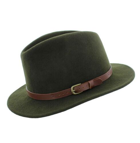 Failsworth 100/% LANA Adventurer Fedora Cappello Nero//Verde//Oliva Dimensioni