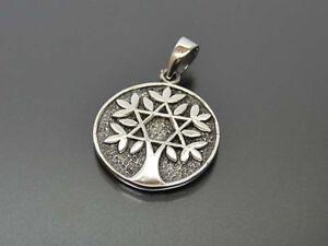 Keltischer-Lebensbaum-Pentagramm-Anhaenger-Silber-Gothic-Schmuck-NEU