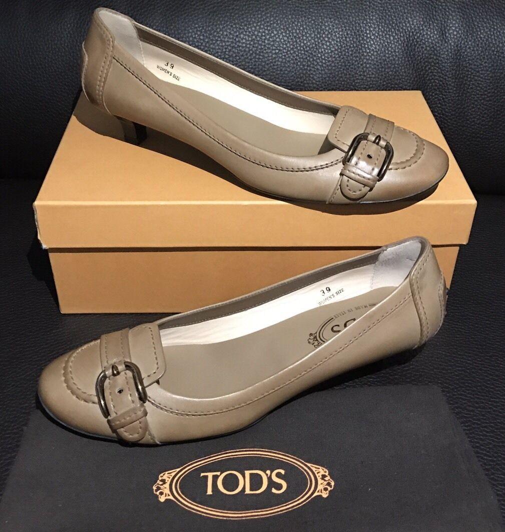 New NIB TOD'S Tan Vintage Leather Ballet Ballerina Low 8.5 Heels Dress Shoe 39 8.5 Low 9 74d9cf