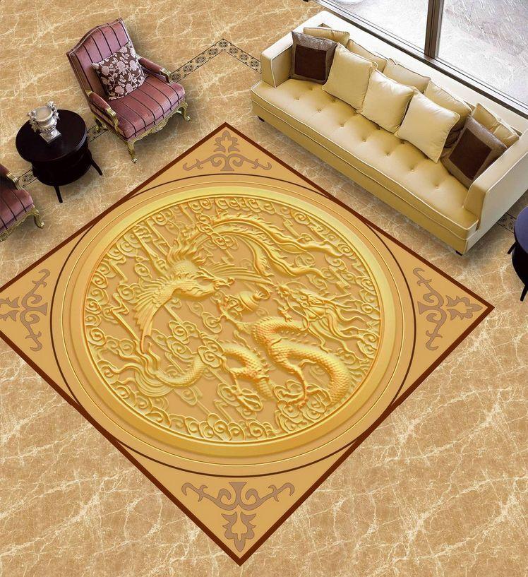 3D drago incisione Pavimento Foto Wallpaper Murales Muro Stampa Decalcomania