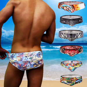 cac625dcfe Image is loading Fashion-Cartoon-Print-Swimming-Trunks-Men-Briefs-Beach-