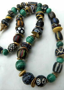 African-Trade-Beads-Necklace-rare-black-Venetian-Fancy-beads-malachite-beads