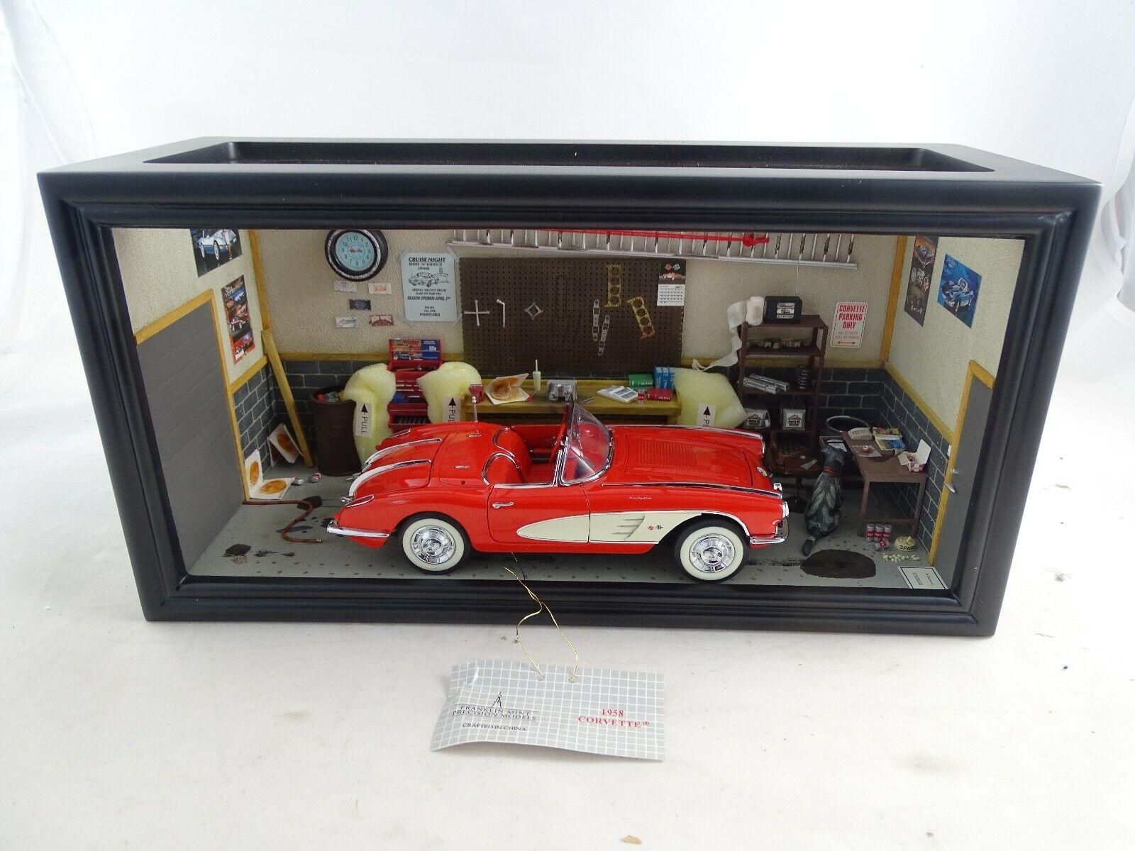 1 24 Franklin Mint Corvette Die Garage Diorama  1958 Rarità in Confezione
