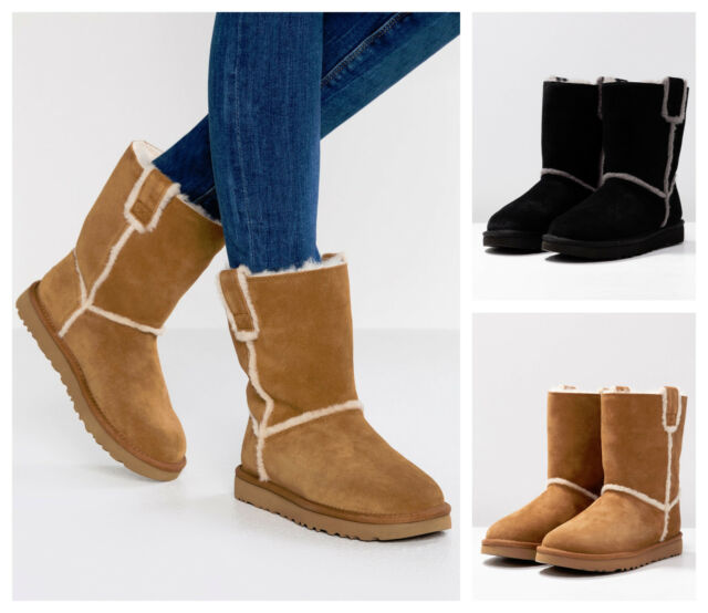 36d18c6d817 New UGG BNIB £165 Leather Fur Suede CLASSIC Women's Shoes Boots UK SZ 5 6 7  8