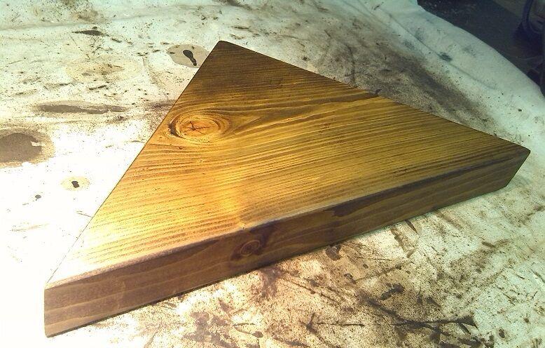 MENSOLA ad angolo-stile vintage in legno massello spessa-Rovere Scuro-grande