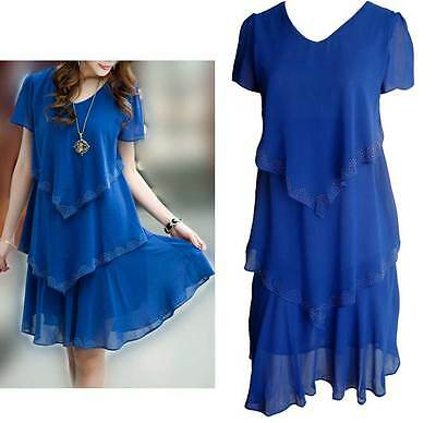 Blue Chiffon Frill Dress Size 10 12 14 16 18 Layer cocktail party crystals Sale