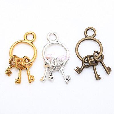 Lots 25Pcs Tibetan Retro Silver/Golden/Bronze/ Mixed Key Chain with 3keys Pen