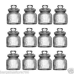 Set of 12 Vintage Glass Storage Jars 680ml Ribbed Tea Coffee Sugar