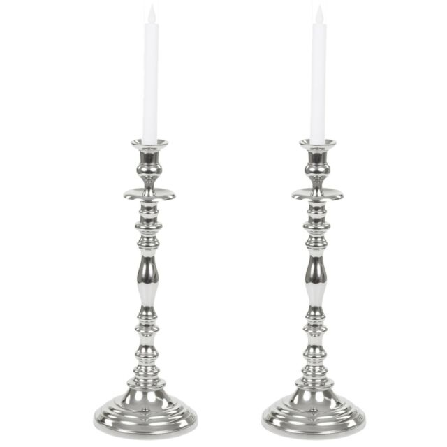 42cm Set Of 2 Silver Look Tall Candle Stick Holder Christmas Wedding
