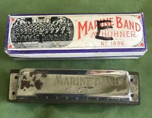 Marine-Band-Hohner-Harmonica-with-Case-Key-Of-E-Vintage