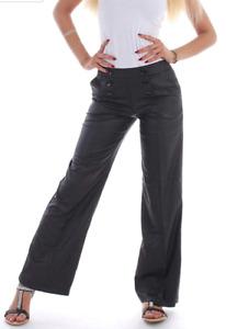 Damen Bundfalte Hose Schlaghose Marlene Jeans Bootcut Hüftjeans Flared B69
