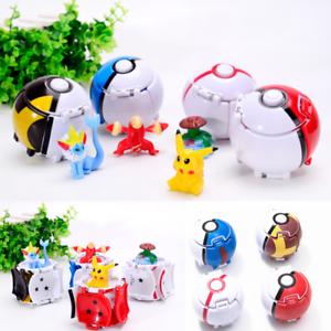 4 Pack Pokemon Pokeball Cosplay Pop-up Elf Go Fighting Poke Ball Pikachu Toy Set
