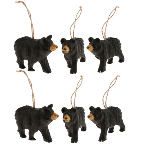 6x Home Wall Christmas Rustic Hanging Ornament Carved Wood Animals Figurines