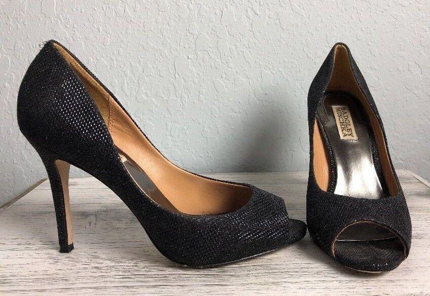 BADGLEY MISCHKA Women's Black  HUMBIE II  Sparkle Peep Toe Pump Heel Size 6.5M