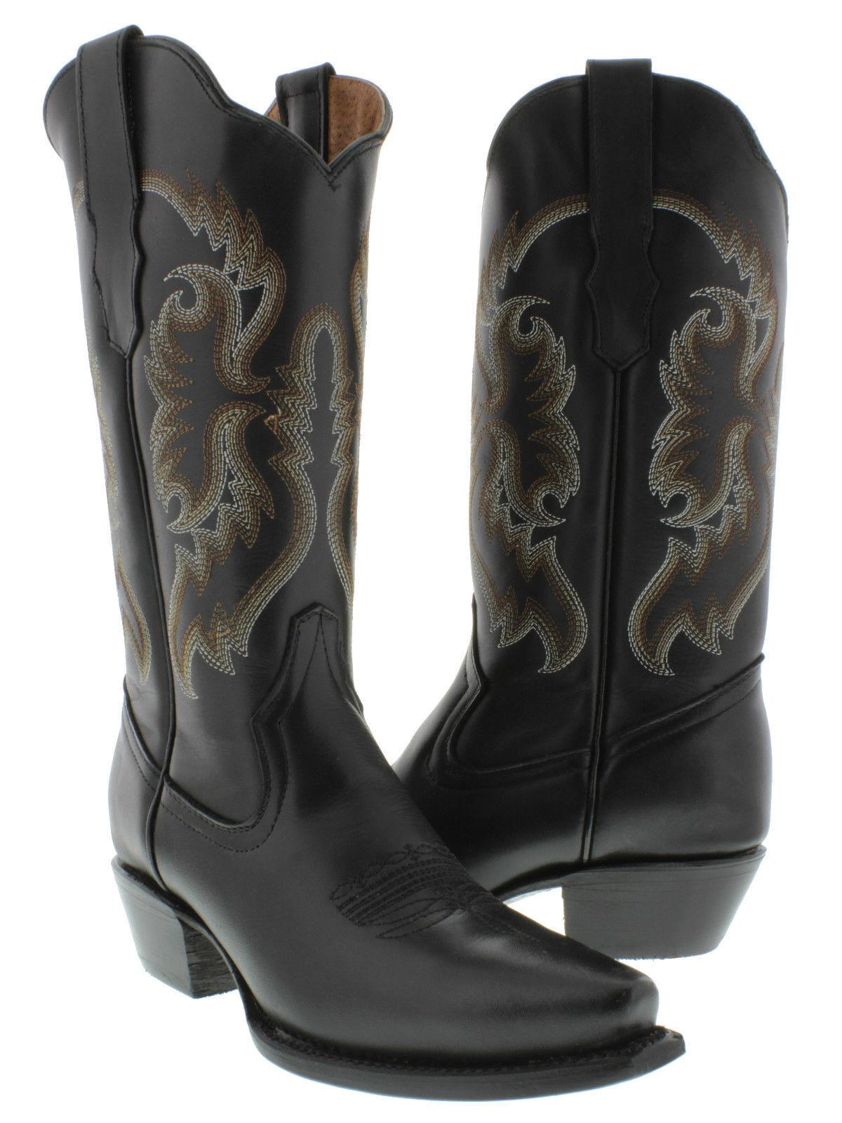 Senza tasse donna nero Classic Style Style Style Western Cowboy stivali Casual Plain Leather  autorizzazione