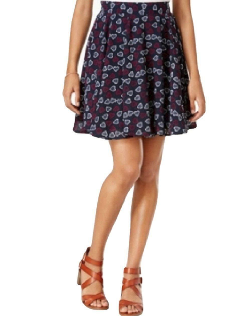Maison Jules Heart-Print Flare Skirt Navy Stone Combo XXL