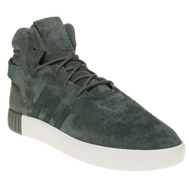 New MENS ADIDAS GREEN TUBULAR INVADER SUEDE Sneakers HI TOP SNEAKERS