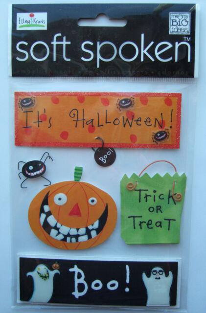 ~IT'S HALLOWEEN~ Soft Spoken Dimensional Embellishment Stickers; Trick or Treat
